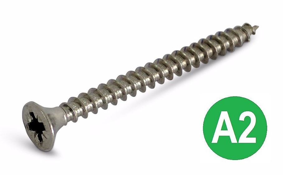 4x40 A2 Pozi Countersunk Chipboard Screw