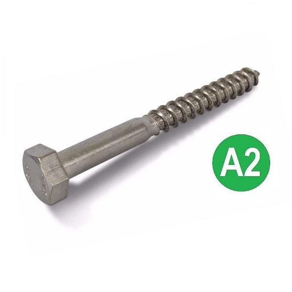 M8x80mm A2 Stainless Hex Head Coach Screws