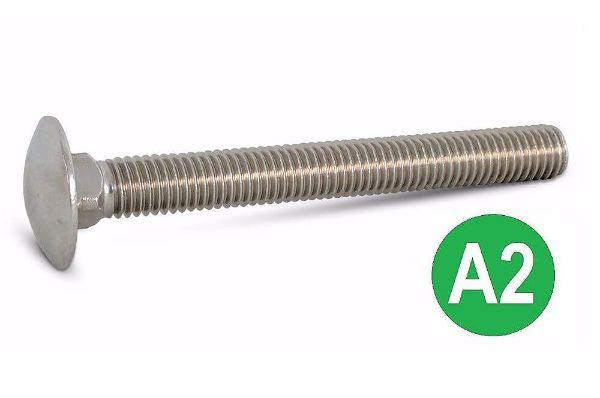 M10x100mm A2 Stainless Coach Bolt DIN 603