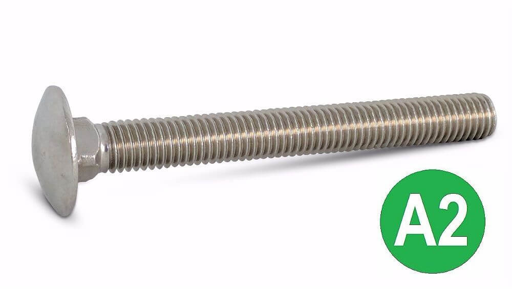 M12x50mm A2 Stainless Coach Bolt DIN 603