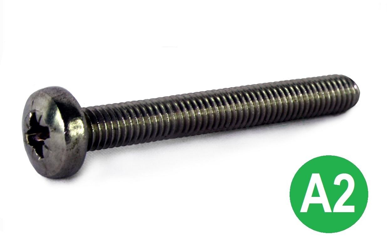 M4x12 A2 Pozi Pan Machine Screw DIN 7985