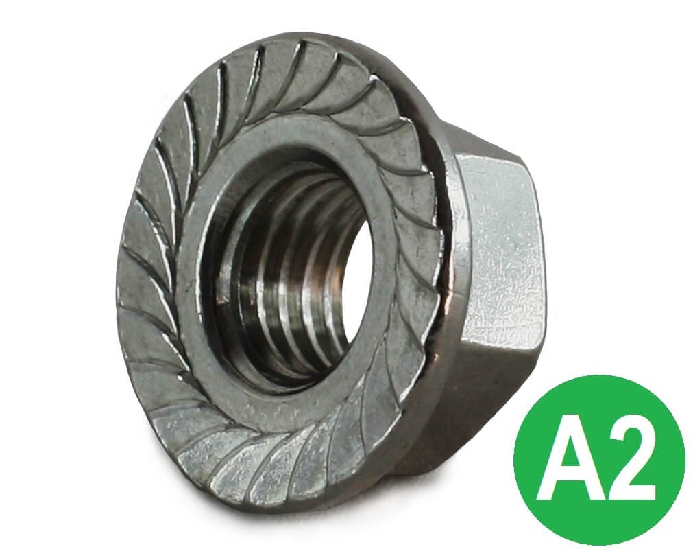 M12 A2 Serrated Flange Nut DIN 6923