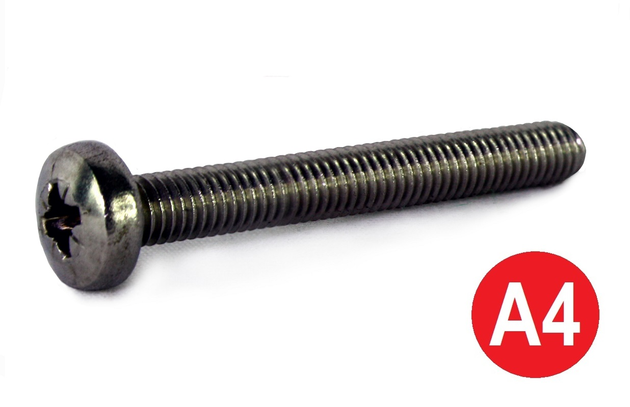 M4x10 A4 Pozi Pan Machine Screw DIN 7985