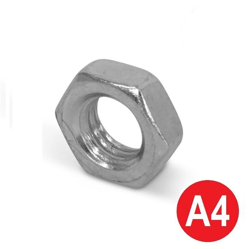 M8 A4 Stainless Half (Lock) Nut DIN 439B