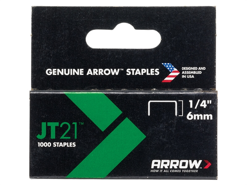 Arrow JT21/T27 Staples 6mm (1/4in) Box 1000