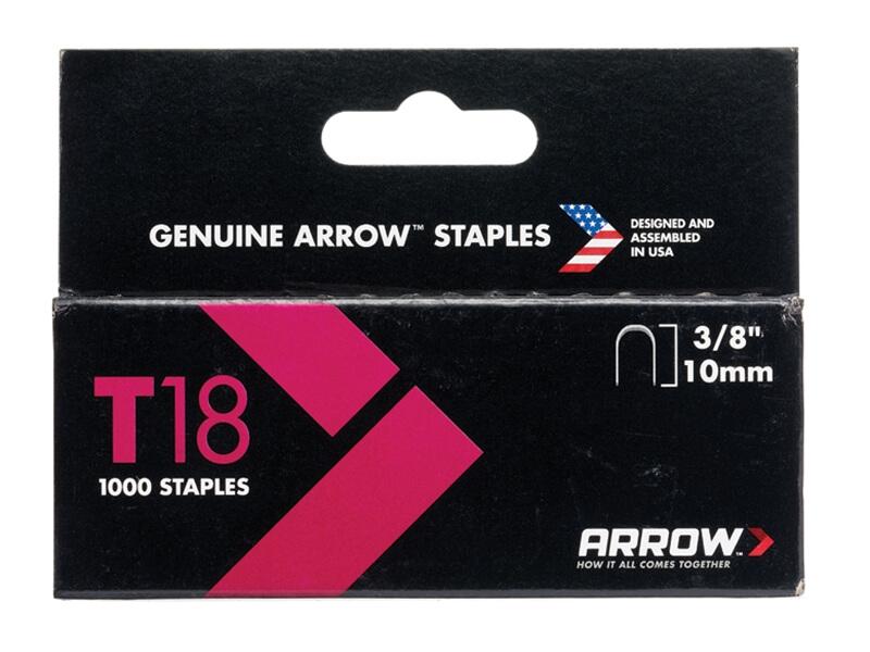 Arrow T18 Staples 10mm (3/8in) Box 1000