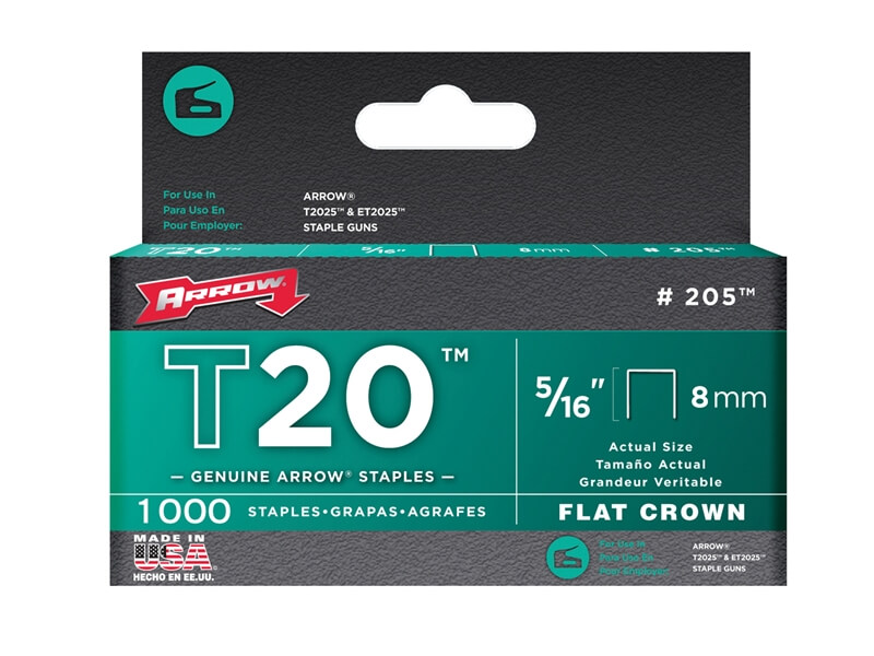 Arrow T20 Staples 8mm (5/16in) Box 1000