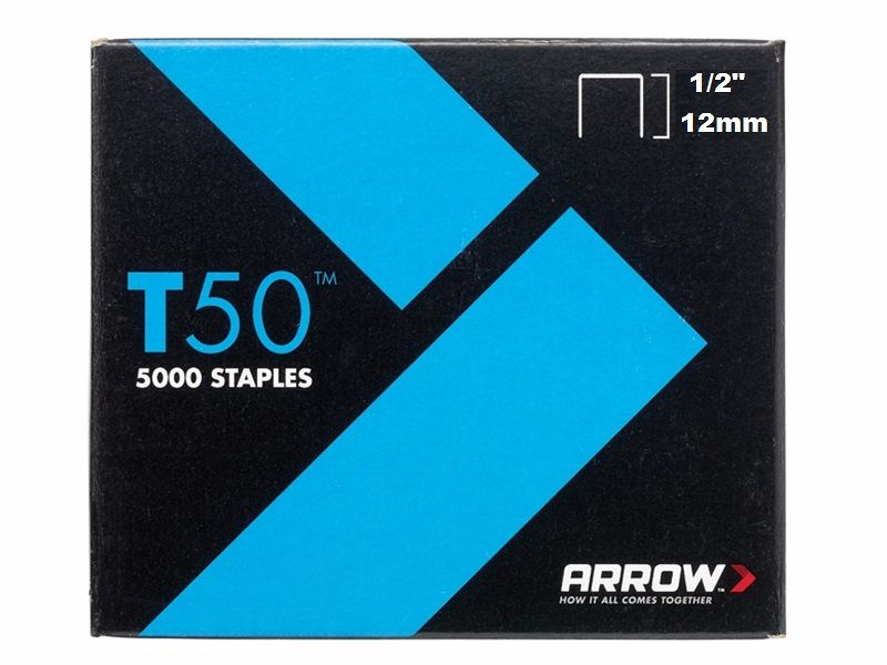 Arrow T50 Staples 12mm (1/2in) Box 5000