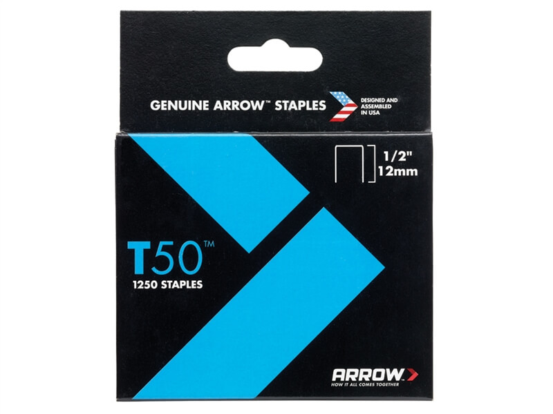 Arrow T50 Staples 12mm (1/2in) Box 1250