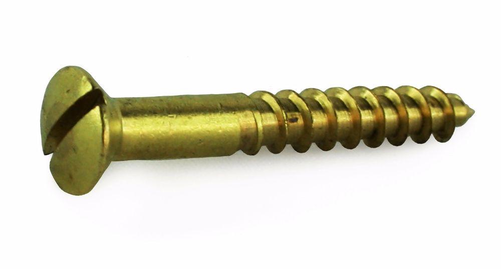4 X 1/2 Brass Slot Raised Csk Wood Screws