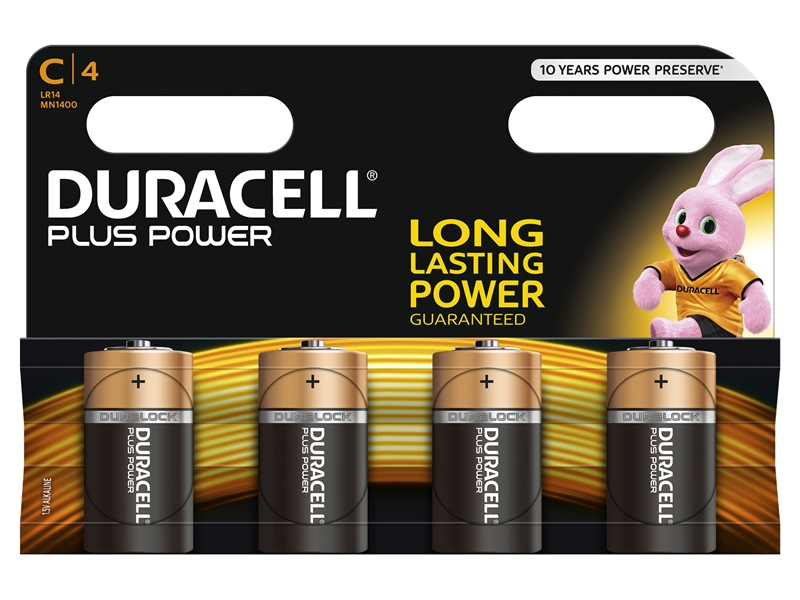 Duracell C Batteries - Multi-Pack of 4.