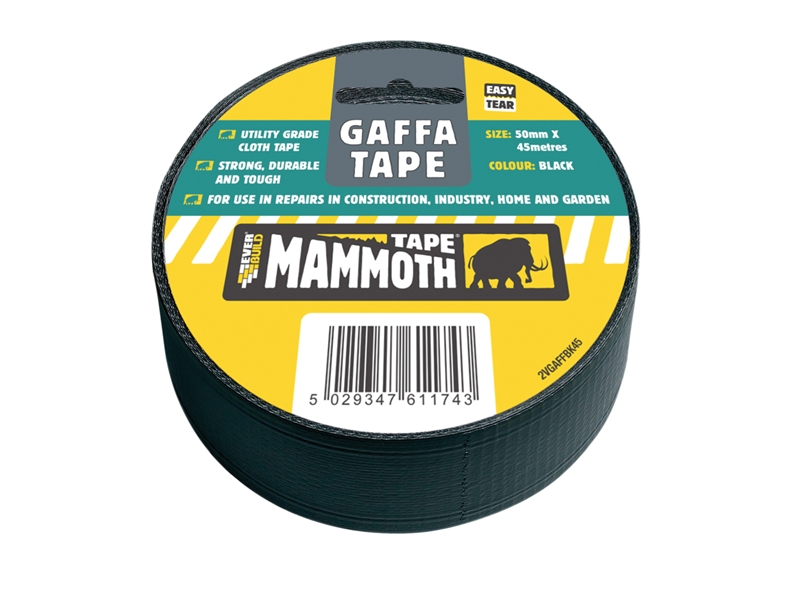 Everbuild GAFFA TAPE BLACK 50MM 45MTR