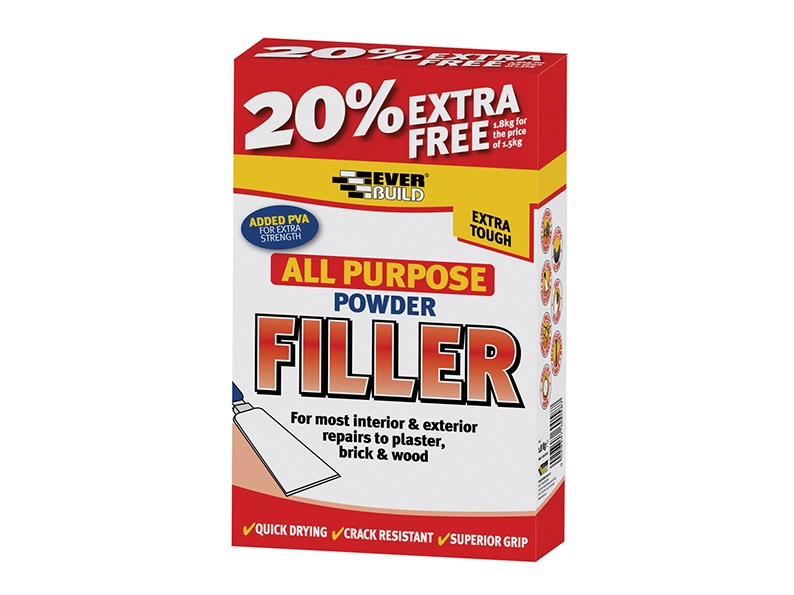 Everbuild POWDER FILLER WITH 20% FREE 1.5KG