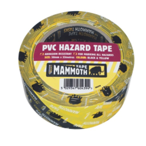 Everbuild PVC Hazard Tape Bk/Yw 50mm 33Mtr