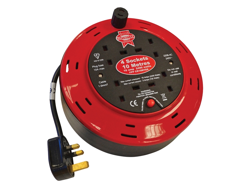 FAITHFULL Cable Reel 230 Volt 10 Metre 10 Amp