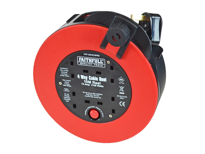 Faithfull 10m 4 Sckt Rapid Rewind Cable Reel