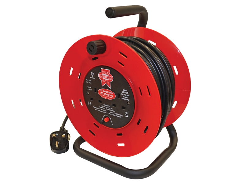 FAITHFULL Cable Reel 25 Metre 13 Amp 230 Volt