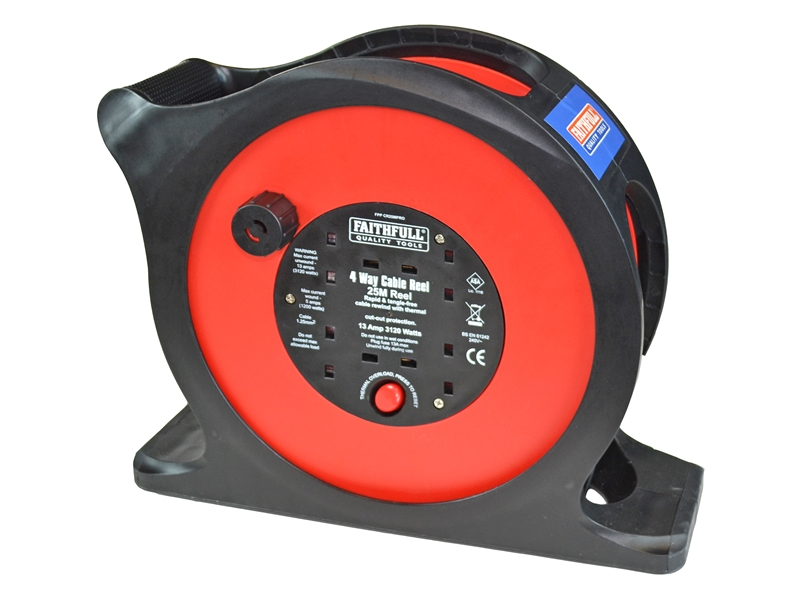 Faithfull 25m Rapid Rewind Cable Reel