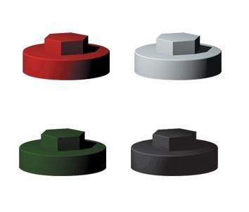 JCP 16mm Dia Black Push-On Cover Cap