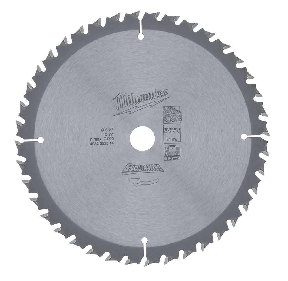 Milwaukee Circular Saw Blade 165 x 16 x Z40