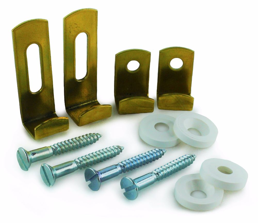 4 Piece Polished Brass 4mm Mirror Fixing Set