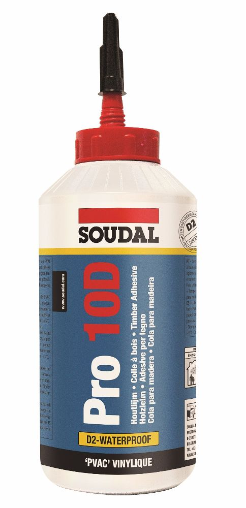 Soudal PRO 10D PVA D2 Wood Glue 750gm Bottle