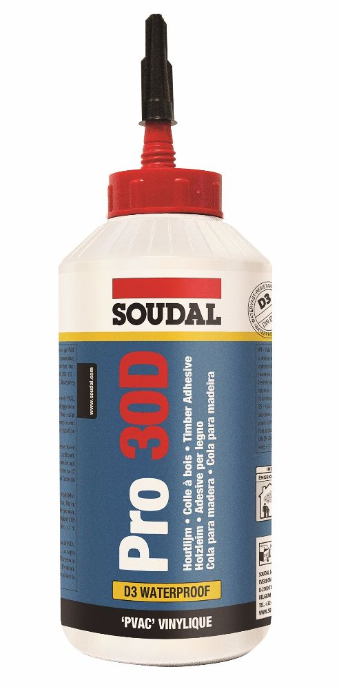 Soudal PRO 30D PVA D3 Wood Glue 750gm Bottle