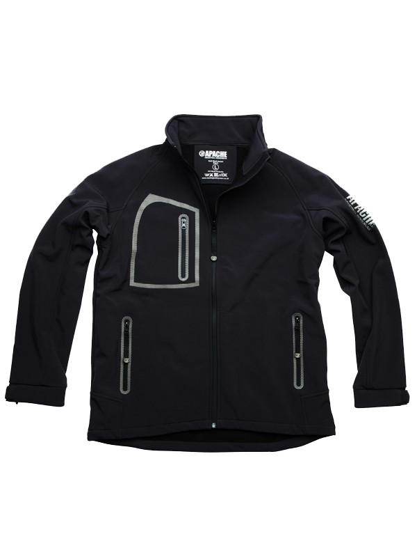 Apache Soft Shell Jacket Black/Grey Large