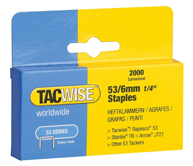 TACWISE 53 Light Duty Staples 6mm Type JT21