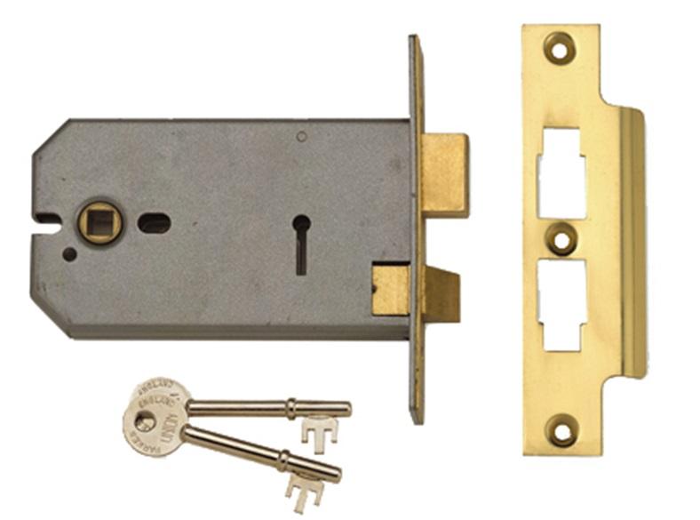 2077-5 3 Lever Horizontal Mortice Lock 124mm