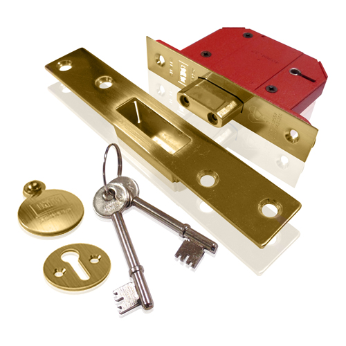 Union 5 Lever Mortice Deadlock 2.1/2  Brass